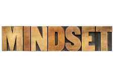 Mindset word in wood type. Mindset - isolated word in vintage letterpress wood type blocks royalty free stock photo