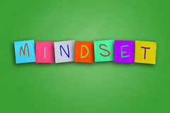 Mindset. The word Mindset written on sticky colored paper Royalty Free Stock Photo