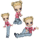 Mindy Girl Cookie Poser. Three poses of Mindy who is a cookie poser. She can be used for your printing or web useage Stock Image