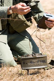 Mine. A soldier preps a claymore mine Royalty Free Stock Photos