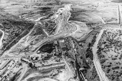 Mine aerial black and white Stock Photos