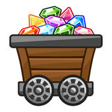 Mine cart with Diamonds Stock Photography