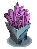 Mine Cart full of Crystal. Stock Images