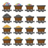 Mine cart set gold sone coins diamonds Stock Images