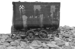 Mine Cart - shot in black and white. The open box-shaped tram is referred to in the miners' language as Lore or Hunt / dog. shot in black and white Stock Photos