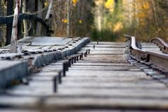 Mine Cart Tracks. Cart tracks at an old coal mine which was closed down in the 1950s royalty free stock photos