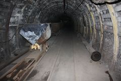 Mine. Coal mining.Underground catacombs. royalty free stock image