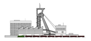 Mine complex. A illustration of mine complex with train Stock Photography