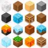 Mine Cubes 03 Elements Isometric. 3D Flat Isometric Mine Cubes HD Starter Kit Ground Water Iron Coal Grass Rock Ice Sand Wood Stone Elements Icon Mega Set Stock Image