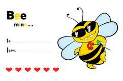 Mine d'abeille - carte de jour du ` s de Valentine Photo stock