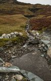 Mine d'ardoise de Honister, Cumbria, R-U - un petit courant photo stock