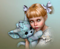This is mine! 3d CG. 3D computer graphics of a cute girl with bows in her hair and a stuffed toy in the arms Stock Photos