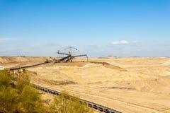 Mine de charbon brune à ciel ouvert Piqûre ouverte Photographie stock libre de droits