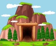 Mine entrance at the mountain. Illustration Stock Photo