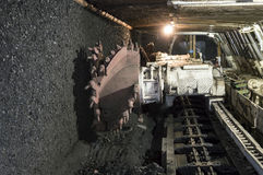 Mine excavator facing coal wall Royalty Free Stock Image