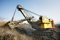 Mine excavator at work Stock Photography