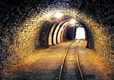 Mine gold underground tunnel railroad stock photography