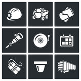 Mine icons. Vector Illustration. Royalty Free Stock Images