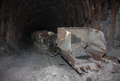 Mine machines in underground mines Royalty Free Stock Photography