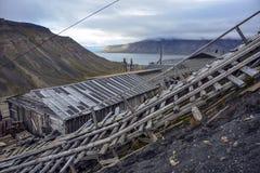 Mine No2 in Longyearbyen, Spitsbergen, Svalbard. Abandoned coal mine No.2 on the hillside above Longyearbyen, Svalbard. Today it is a heritage site Stock Photo