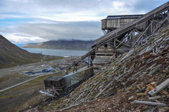 Mine No2 in Longyearbyen, Spitsbergen, Svalbard. Abandoned coal mine No.2 on the hillside above Longyearbyen, Svalbard. Today it is a heritage site Royalty Free Stock Photography