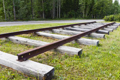 Mine ore car tracks. Exhibit of mine ore car track use in the Faro mine in the Yukon, Canada stock photos