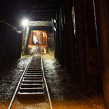 Mine railway in undergroud. Royalty Free Stock Image