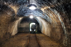 Mine railway in undergroud. Royalty Free Stock Images
