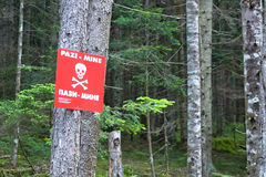 Mine's alert sign. A red mine's alert sign in Bosnia and Herzegovina stock photography