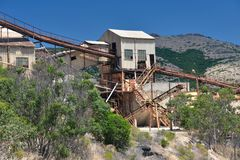 Old dismantled iron mine in Sardinia stock photography