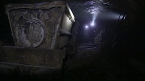 Mine Shaft. Interior of a mining shaft with diminishing perspective and copy space. stock footage