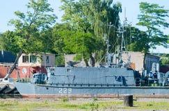 Mine trawler on parking Stock Image