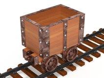 Mine trolley with railway Stock Photo