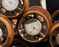 Mine trolley wheels Royalty Free Stock Image