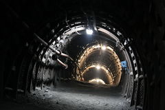 Mine tunnel. Inside of coal mine, tunnel in museum stock photography