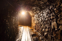 Mine tunnel - historical gold, silver, copper mine. Mine tunnel with path - historical gold, silver, copper mine Stock Photography