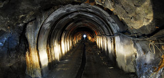 Mine tunnel light Royalty Free Stock Images