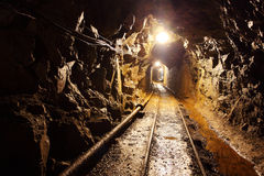 Mine tunnel with path Stock Photo