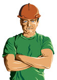 Mine worker. Illustrated portrait of a mine worker Stock Photos