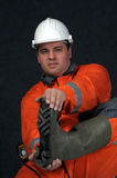 Mine worker in boots Royalty Free Stock Photography
