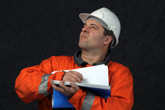 Mine worker with file Stock Photo