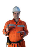 Mine worker offering Royalty Free Stock Images