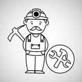 Mine worker pickaxe with tools. Vector illustration eps 10 Stock Photo