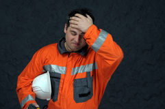 Mine worker sweeping Stock Photo