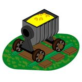 Minecart on rails with coins and gold stock illustration