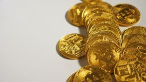 Mined Golden Coins Created As Cryptocurrency Bitcoin stock footage