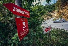 Minefield near Sarajevo. Sarajevo, Bosnia and Herzegovina - August 24, 2015. Mine. No thoroughfare warning sign on the outskirts ov Sarajevo stock photography