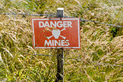 Minefield sign Mount Harriet Falkland Islands Royalty Free Stock Images
