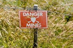 Minefieldteckenmontering Harriet Falkland Islands Royaltyfria Bilder