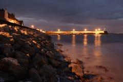 Minehead-Hafen nachts Stockfotos